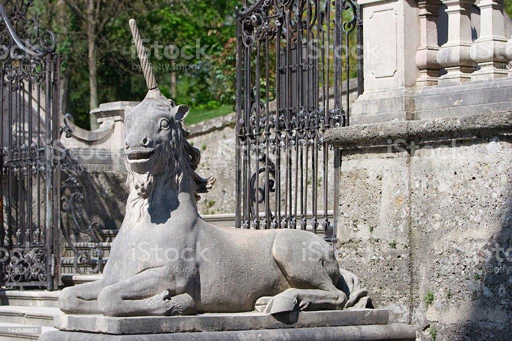 Sculpture of an unicorn stock photo