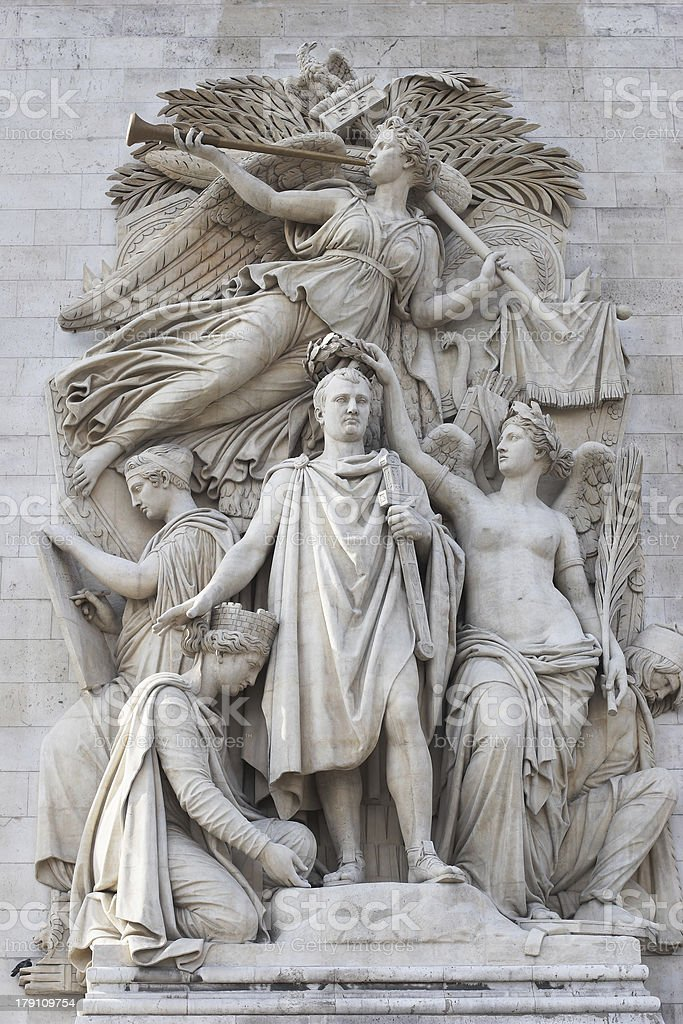 Sculpture of Arc de Triomphe, Paris, France royalty-free stock photo