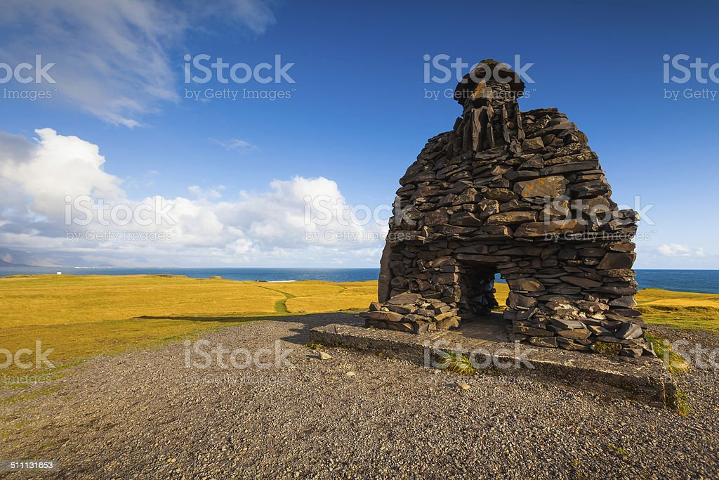 Sculpture of Bardur in the Snaefellsness peninsula, West Iceland stock photo