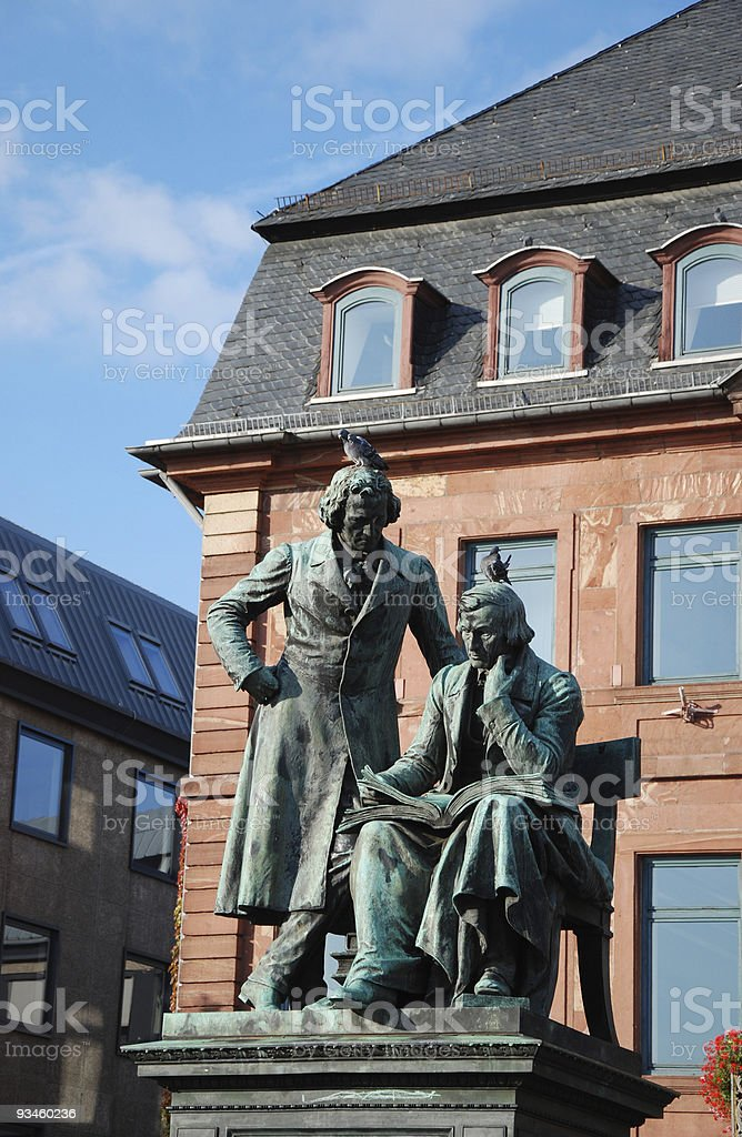 Sculpture of brothers Grimm in Hanau stock photo