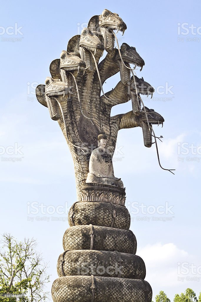 sculpture of buddha and seven Naga royalty-free stock photo