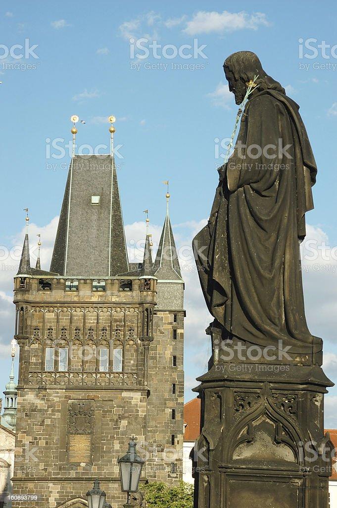 Sculpture of Charles bridge ,unesco heritage,Prague, Czech Republic royalty-free stock photo