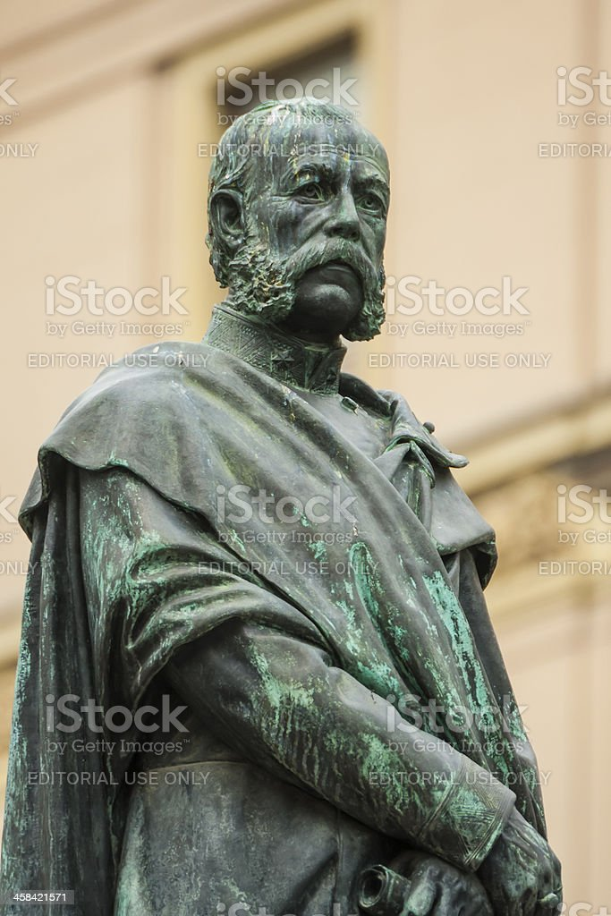Sculpture of Croatian poet Petar Preradovic in Zagreb, Croatia stock photo