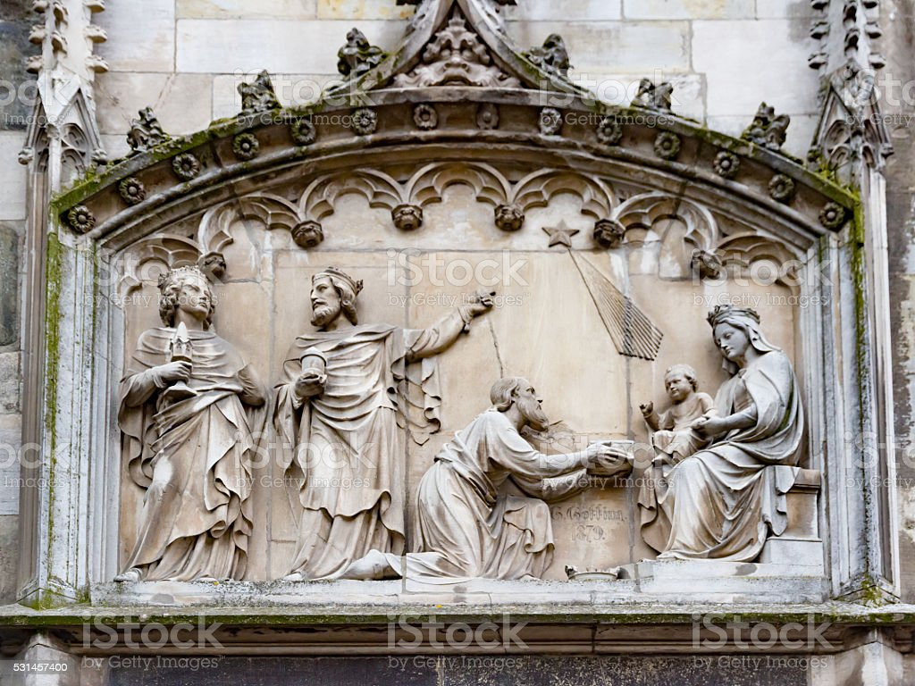 Sculpture of Epiphany in Aachen stock photo