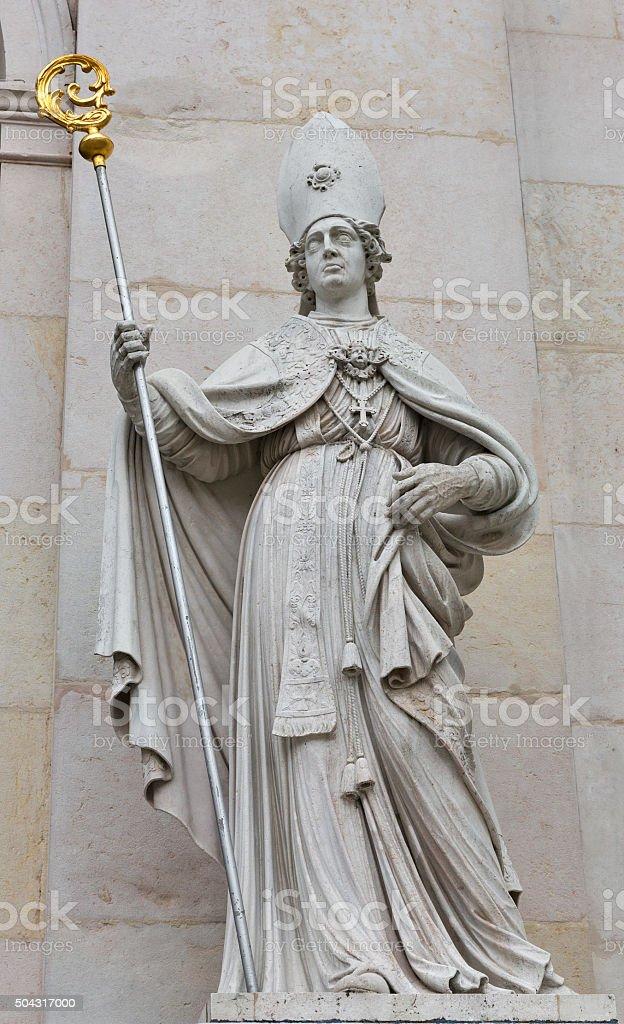Sculpture of famous Salzburg Cathedral at Domplatz, Austria. stock photo