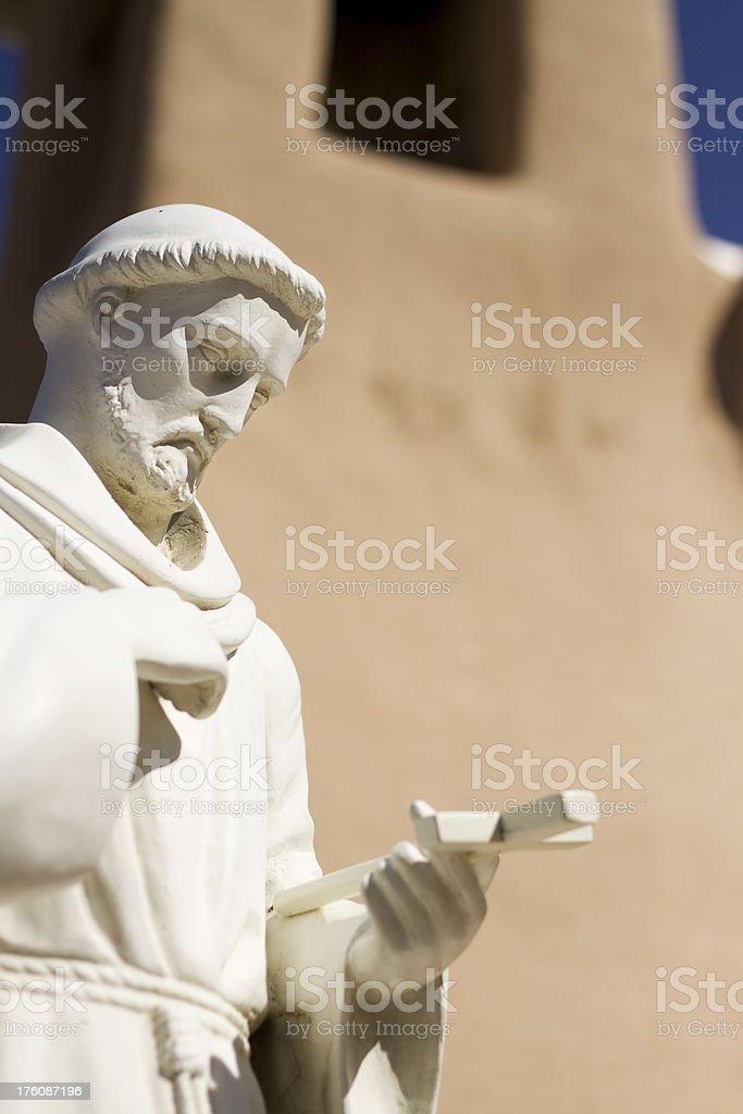 Sculpture of friar at the San Francisco de Asis stock photo