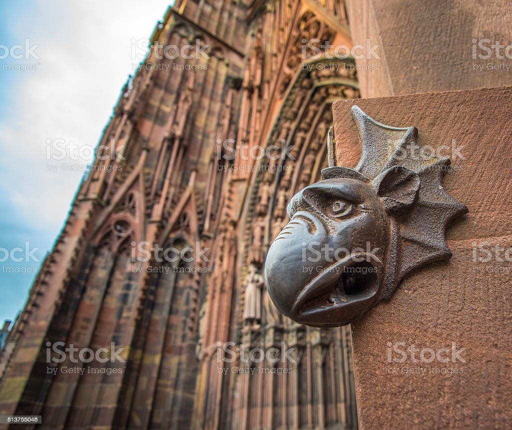 Sculpture of gargoyle, Cathedral of Our Lady of Strasbourg, Alsa stock photo