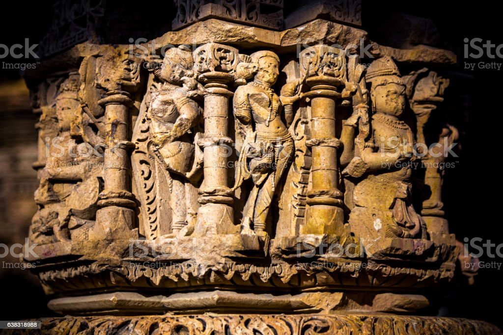 Sculpture of God Goddess on Pillar of ancient Hindu Temple stock photo