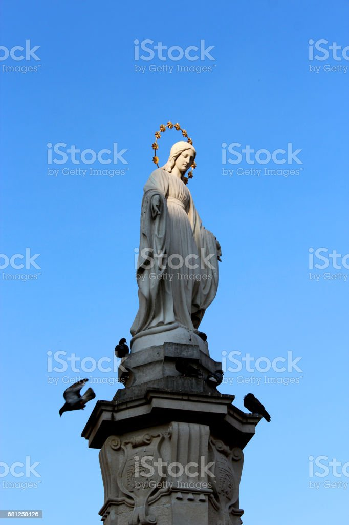 sculpture of God's mother Maria in Lvov stock photo
