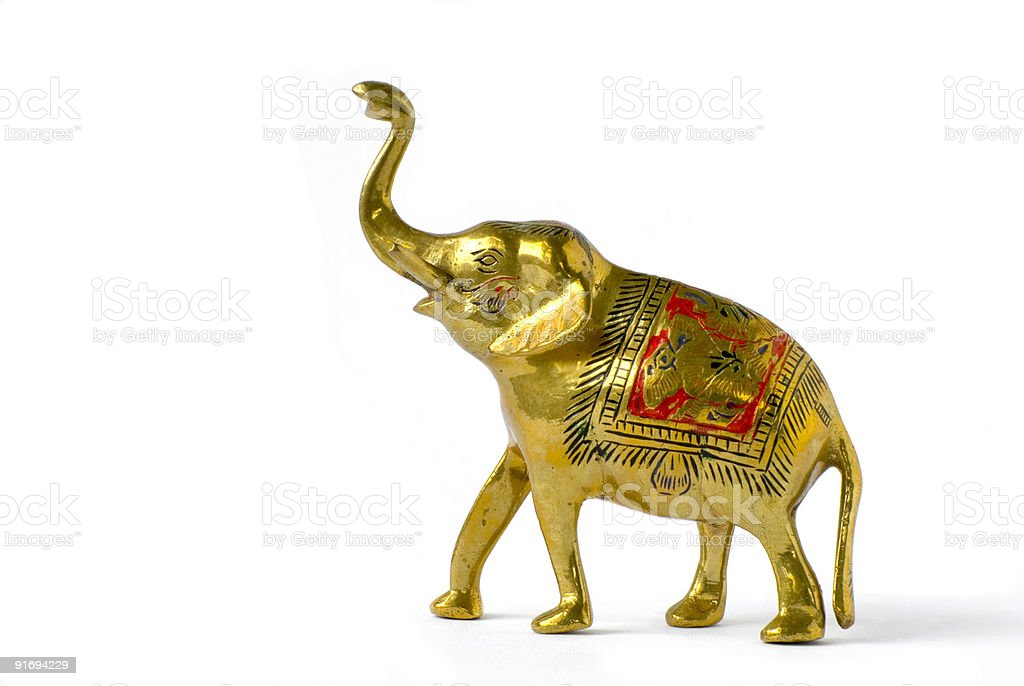 Sculpture of golden hindu elephant royalty-free stock photo
