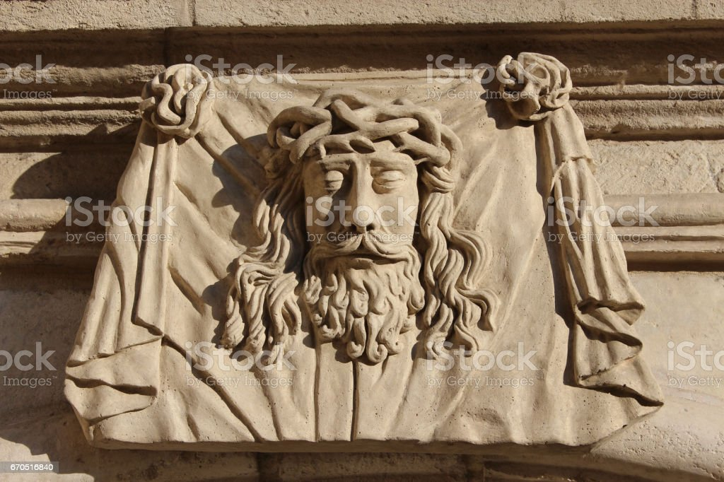 Sculpture of Greece personage cut out from a stone stock photo