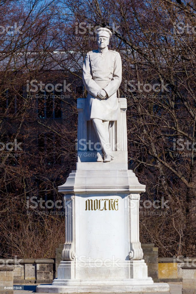 Sculpture of Helmuth von Moltke the Elder in Berlin, Germany. Statue of Helmuth von Moltke stock photo