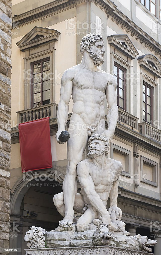 Sculpture of Hercules and Cacuc, Bandinelli.Florence stock photo