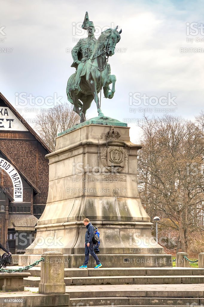 Sculpture of King Charles XV of Sweden stock photo