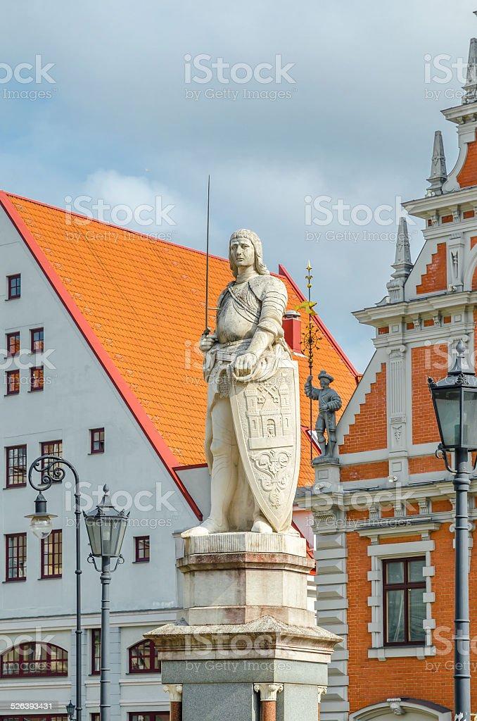 Sculpture of knight Roland in Riga, Latvia stock photo