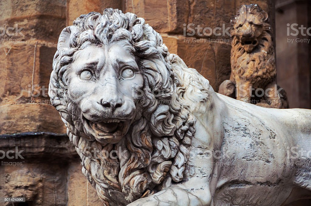 Sculpture of Lion located in Florence stock photo