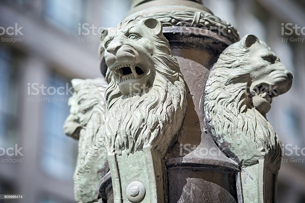 Sculpture of lions buttress fonanry pole in Moscow stock photo