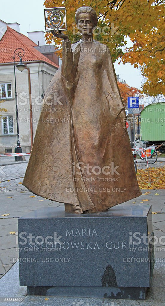 Sculpture of Marie Sklodowska-Curie by polish sculptor Bronislaw Krzysztof stock photo