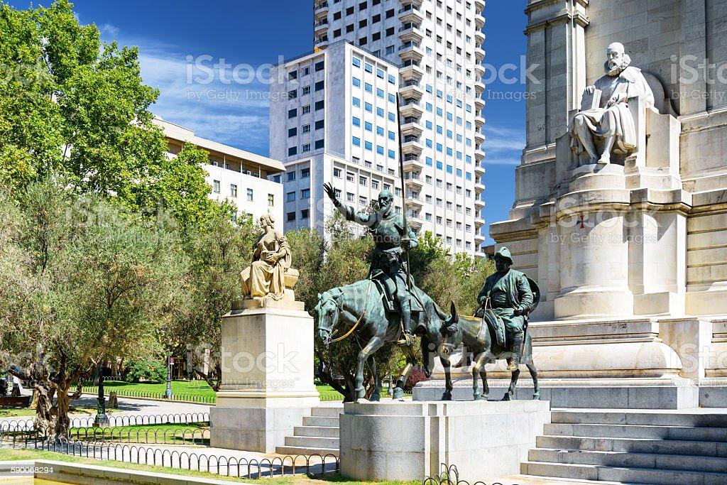 Sculpture of Miguel de Cervantes, Don Quixote and Sancho Panza stock photo