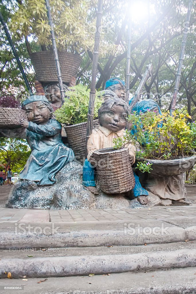 Sculpture of Native Davaoenos in People's Park stock photo