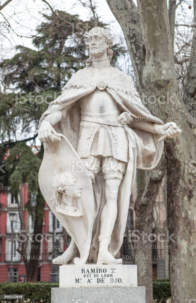 Sculpture of Ramiro II of Leon at Plaza de Oriente, Madrid, Spain stock photo