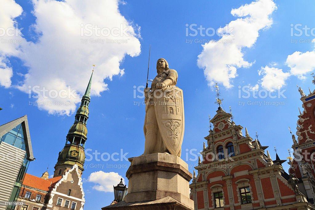 Sculpture of Roland in old city, Riga, Lativa stock photo