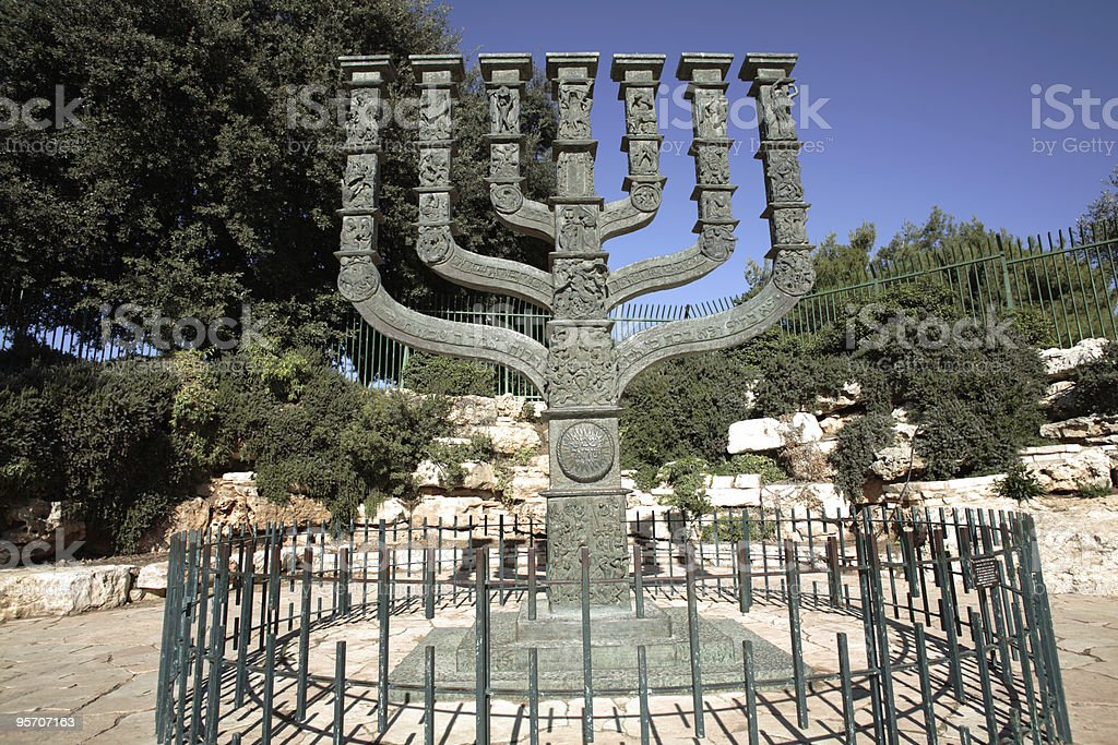 Sculpture of the Knessets Menorah in Jerusalem royalty-free stock photo