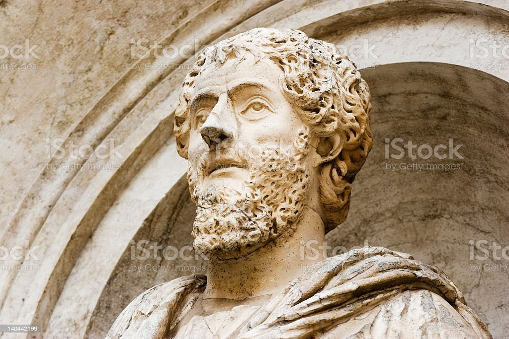 A sculpture of the philosopher Plato stock photo