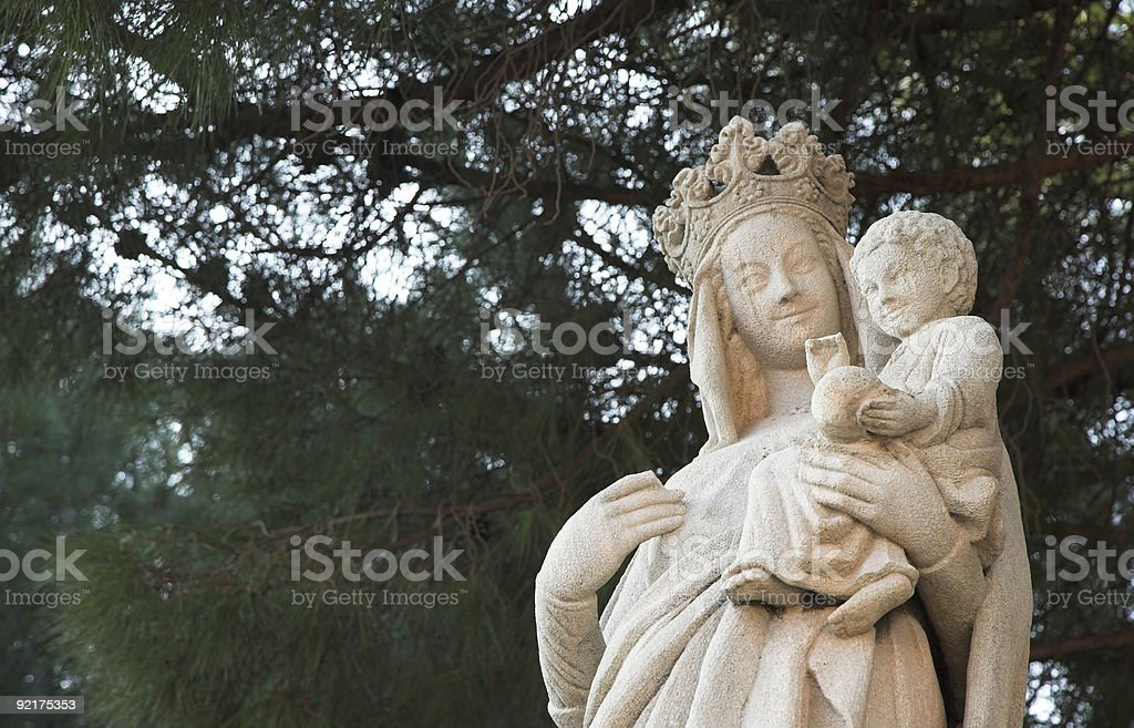sculpture of Virgin Mary and Jesus - white rock royalty-free stock photo