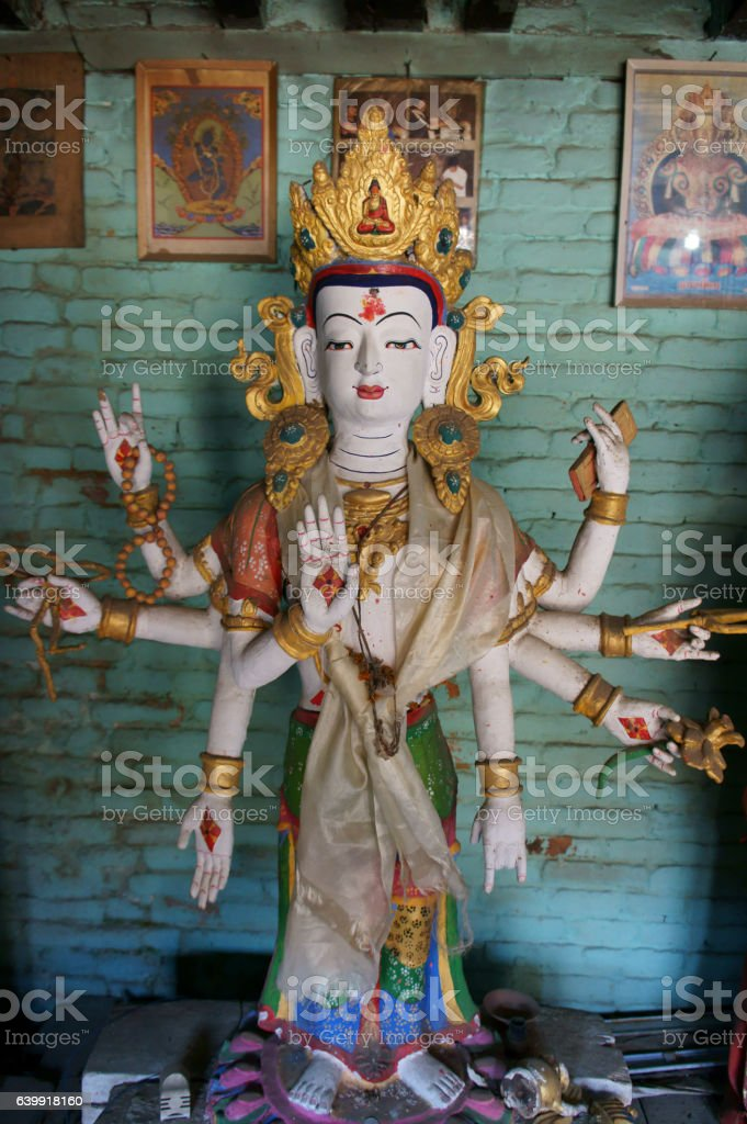 sculpture of white Tara, Machendranath Mandir, Patan, stock photo