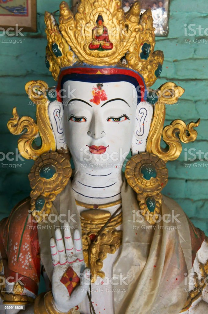 sculpture of white Tara, Machendranath Mandir stock photo