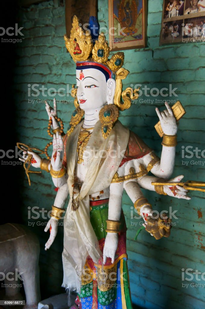 sculpture of white Tara, Machendranath Mandir (temple) stock photo
