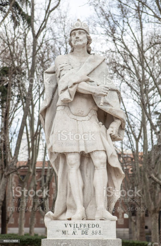 Sculpture of Wilfred the Hairy at Plaza de Oriente, Madrid, Spain stock photo