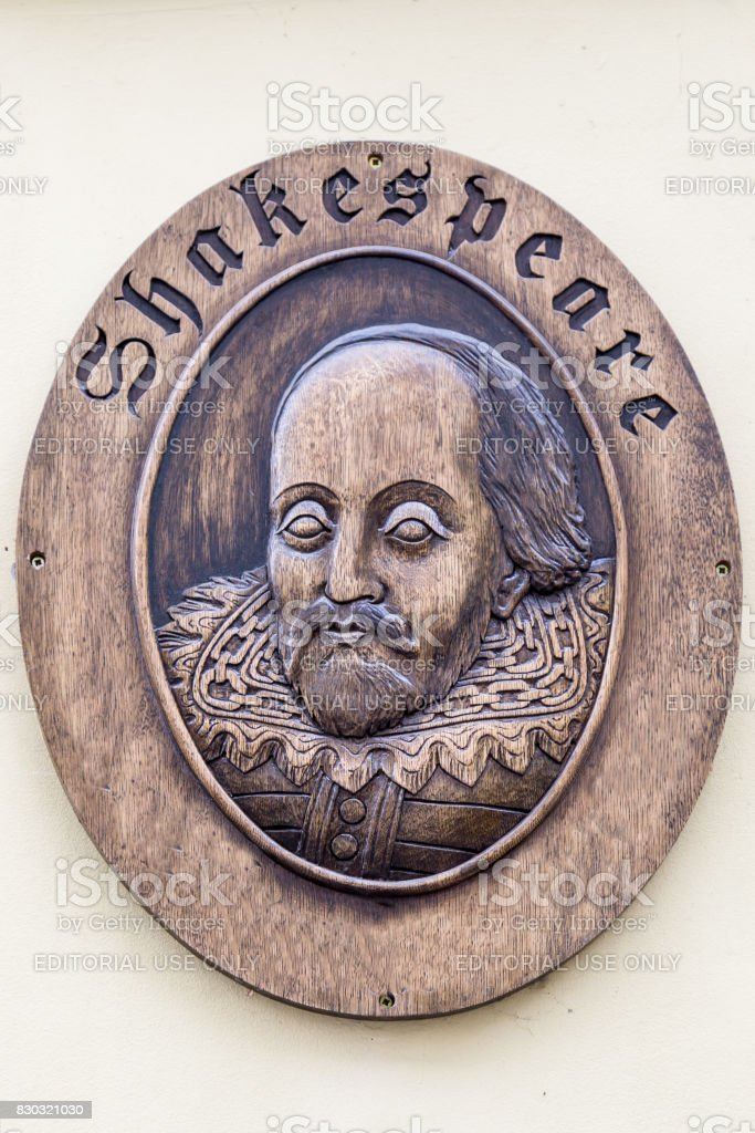 Vilnius, Lithuania - March, 11, 2017:   Sculpture of William Shakespeare, English poet and playwrighter, outside the Shakespeare Hotel in Vilnius, Lithuania stock photo