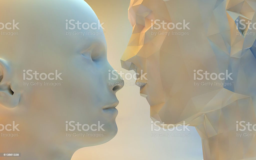 Sculpture of young couple falling in love stock photo