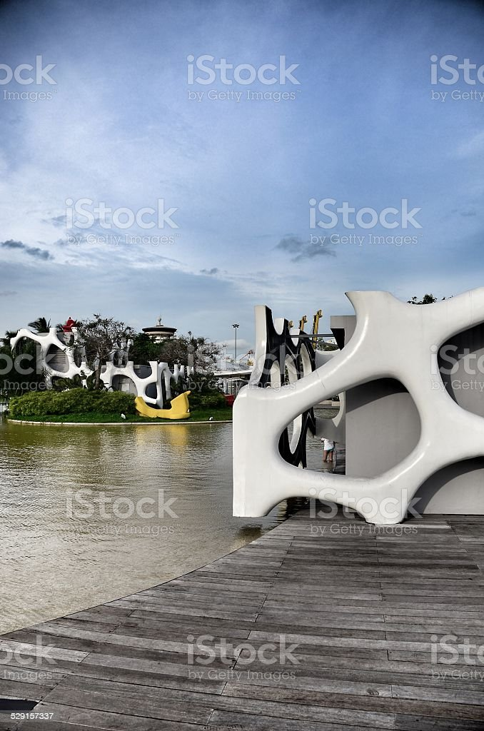 Sculpture on blue sky background stock photo