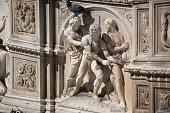 Sculpture on Fonte Gaia at Piazza del Campo, Siena, Italy