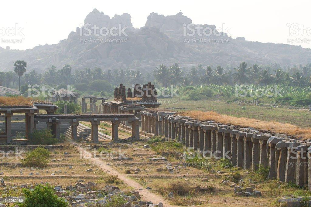 Sculpture on Hinduism religious temple. Part of Hampi ancient civilization stock photo