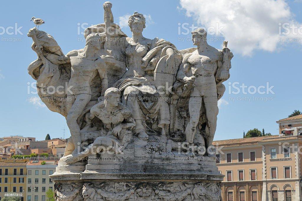 Sculpture on Ponte Vittorio Emanuele II in Rome, Italy stock photo