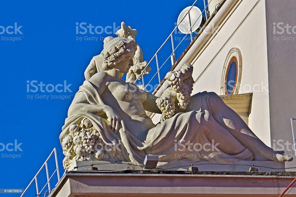 Sculpture on the sea port stock photo