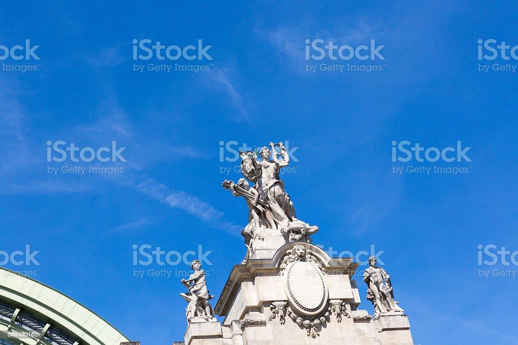 sculpture on top of Grand Palais stock photo