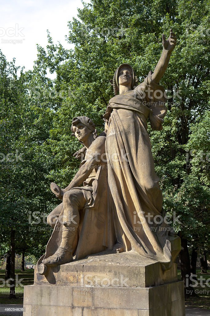 Sculpture 'Premysl and Libuse' JW Myslbek (1881). Prague. Czech Republic. stock photo