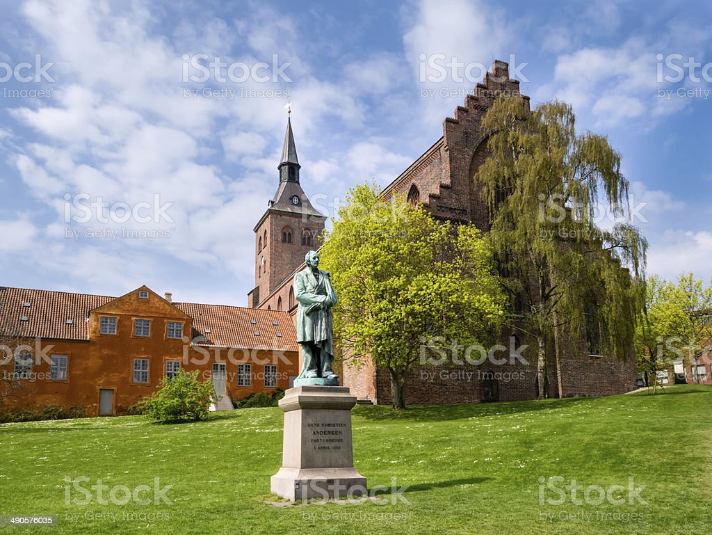 Sculpture statue of Hans Christian Andersen Odense Denmark stock photo