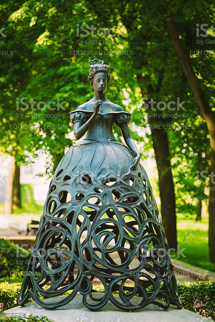Sculpture 'The Muse of opera' in park near stock photo