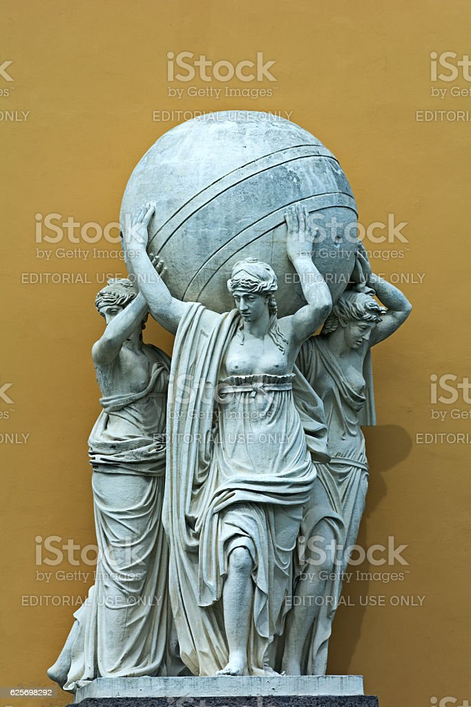 Sculpture 'The statues of nymphs carrying the celestial sphere' stock photo
