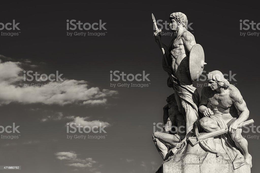 Sculpture vittoriano rome black and white stock photo