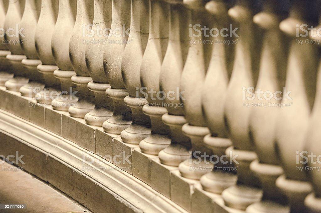 Sculptured Bannister Railing Closeup stock photo