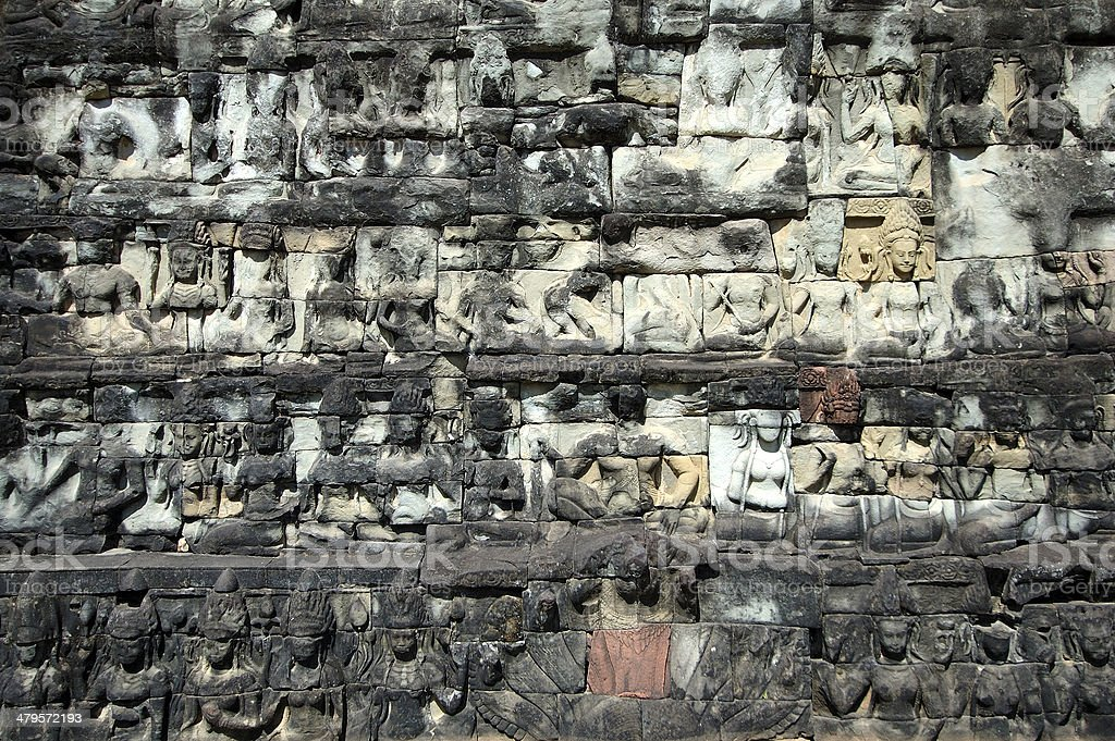 Sculptured buddhas at Terrace of the Elephant stock photo