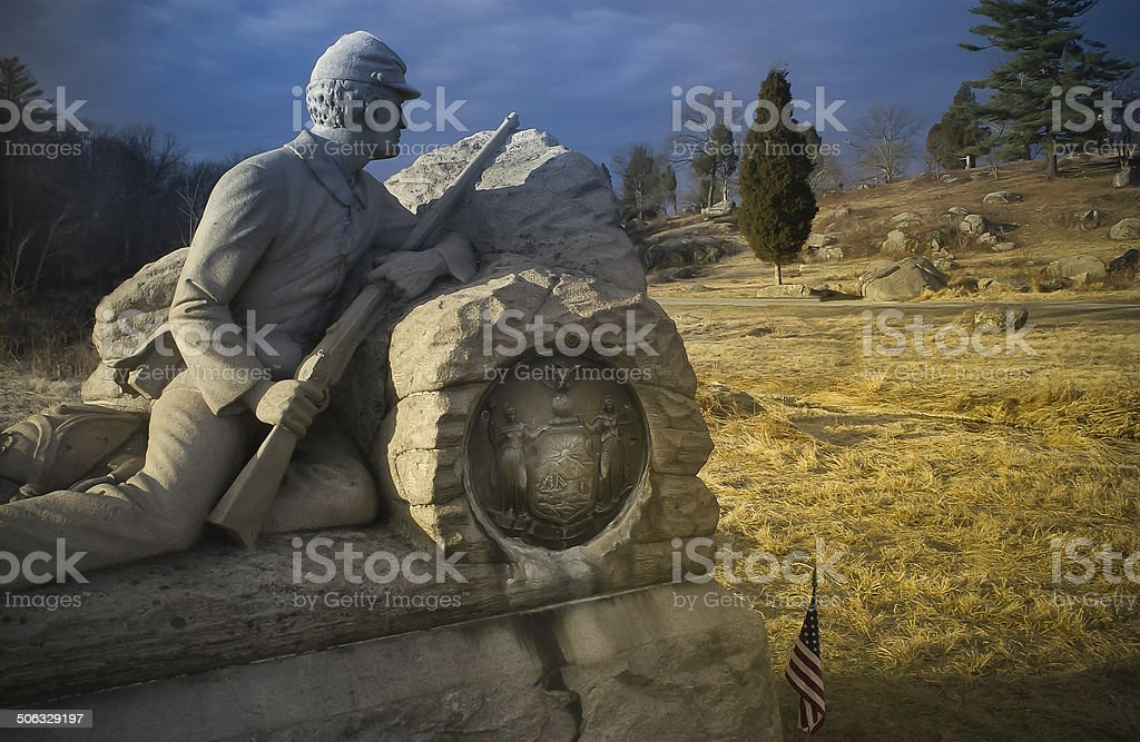 Sculptured Granite Civil War Gettysburg Monument stock photo