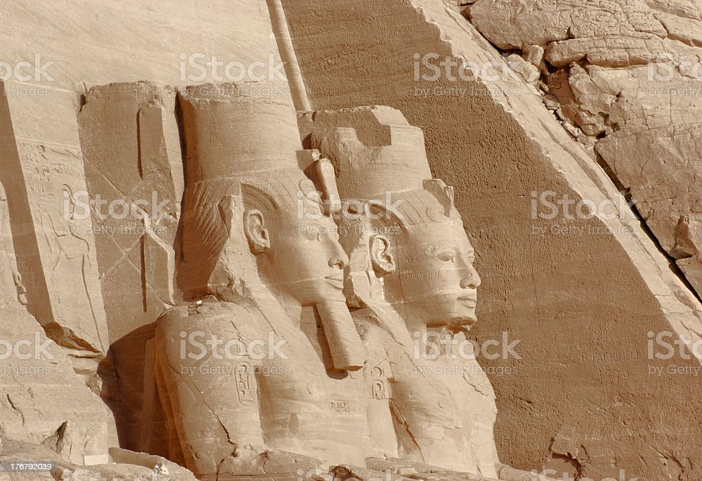 sculptures at Abu Simbel temples in Egypt stock photo